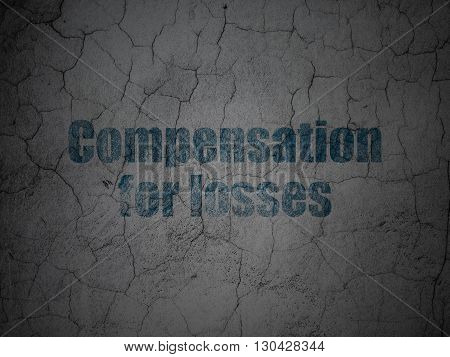 Money concept: Blue Compensation For losses on grunge textured concrete wall background