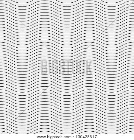 Seamless simple monochrome minimalistic pattern. Modern stylish texture. Wavy lines, simple