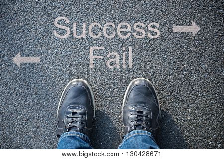 shoes on the street as symbol for success or fail