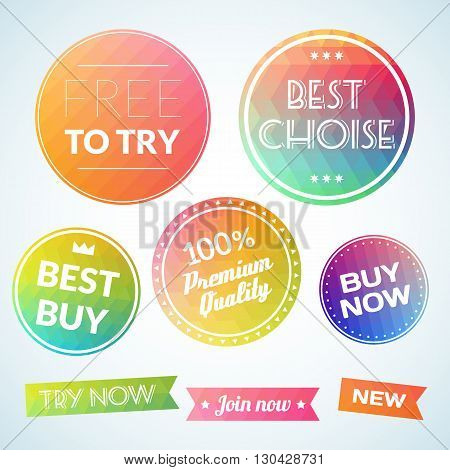 Vector set vintage labels sale choise buy text