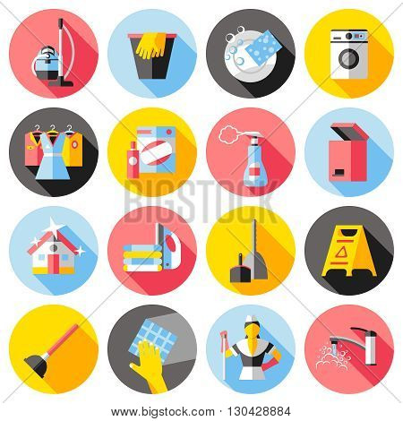 Cleaning service flat icons set with house washing machine ironing clothes bucket dustpan tap isolated vector illustration