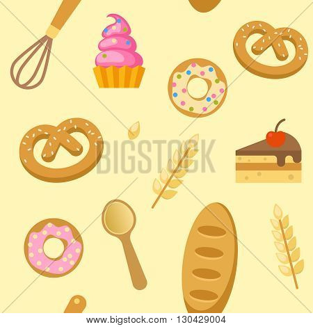 Bakery flat seamless pattern with donuts bagels piece of cake whisk spoon on beige background vector illustration