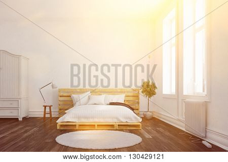 Palette double bed in a sunny bedroom (3D Rendering)