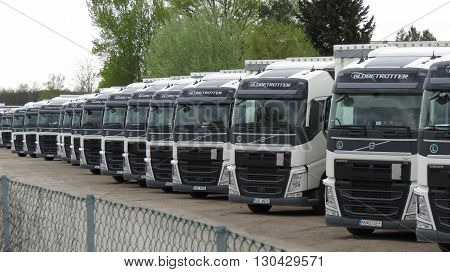 VIENNA AUSTRIA - CIRCA APRIL 2016: perspective of trucks for industrial transport