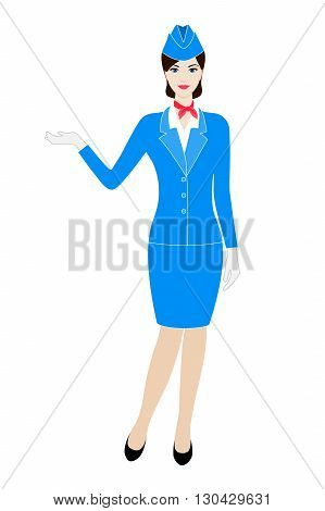 Illustration of young stewardess dressed in blue uniform