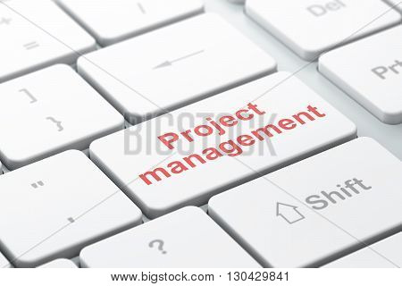 Business concept: computer keyboard with word Project Management, selected focus on enter button background, 3D rendering