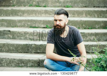 Bearded Man On Blue Sky