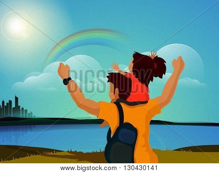 Cute little daughter sitting on her father's shoulder while looking rainbow on beautiful nature background for Happy Father's Day celebration.
