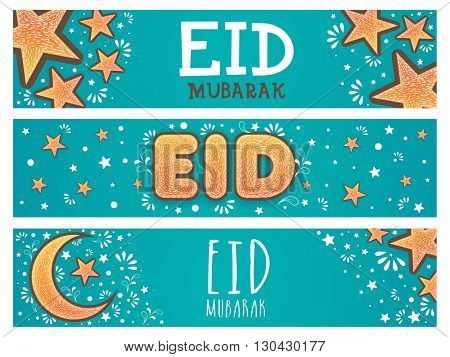 Beautiful website header or banner set decorated with moon and stars for Islamic Famous Festival, Eid Mubarak celebration.