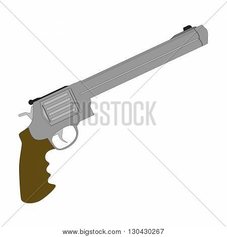 Vector Handgun revolver and military revolver on white background Long gunpoint