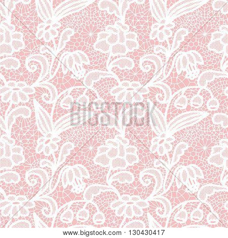 White lace seamless pattern with flowers on pink background