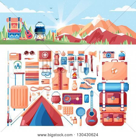 Stock vector illustration of day landscape, mountains, sunrise, travel, nature, pot, fire, hiking, backpack, camping, set of sports equipment for outdoor activities in flat style element info graphic