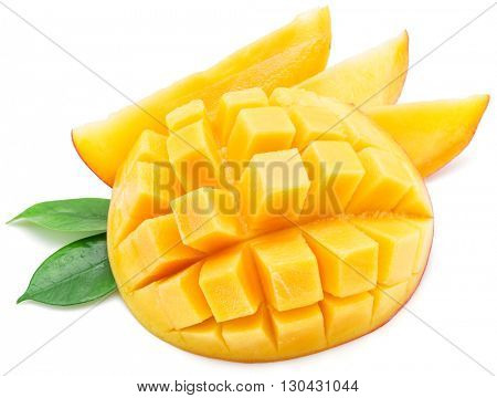 Mango cubes and mango slices. Isolated on a white background.