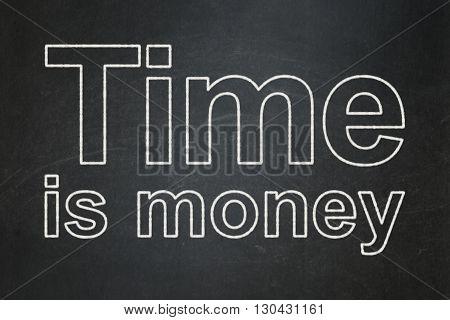 Timeline concept: text Time Is money on Black chalkboard background