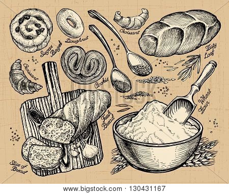 bakery, bread. hand drawn sketches of food. vector illustration