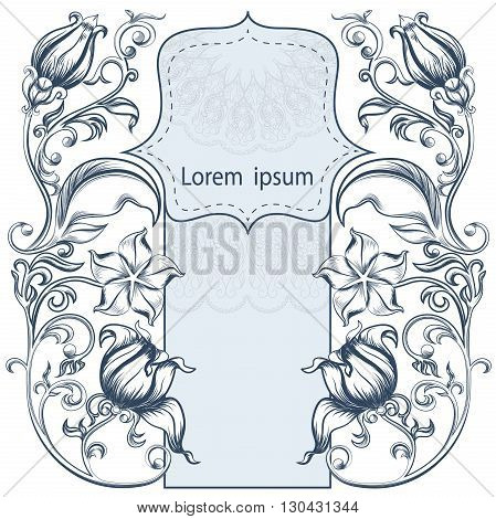 Symmetrical vintage ornate floral pattern with lots of curls, flowers and leaves arranged around the frame for your text. It can be used to design postcards. Vector illustration