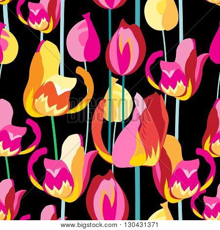 Seamless pattern with beautiful multi-colored tulips on a black background