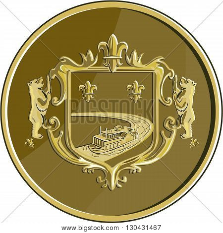 Illustration of a steamboat sailing in the river sea ocean in a gold fleur-de-lis and bear coat of arms set inside gold medal done in retro style.