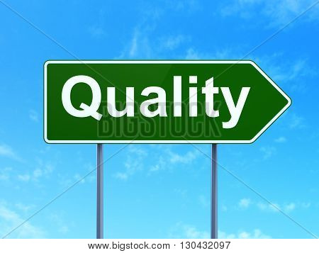 Advertising concept: Quality on green road highway sign, clear blue sky background, 3D rendering