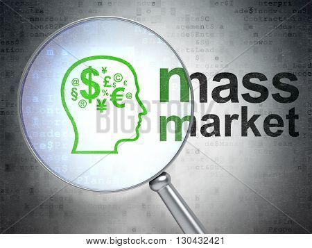 Marketing concept: magnifying optical glass with Head With Finance Symbol icon and Mass Market word on digital background, 3D rendering