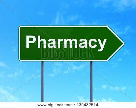 Healthcare concept: Pharmacy on green road highway sign, clear blue sky background, 3D rendering
