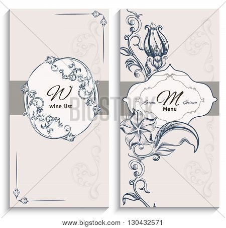 Set floral ornament wine list and menu, with pattern Victorian style. It can be used to print design for restaurants. Vector illustration