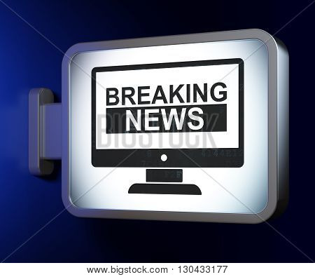 News concept: Breaking News On Screen on advertising billboard background, 3D rendering