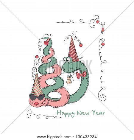 Vector Hand drawn romantic universal trendy card with characters cute snake. Doodle love Design for New Year,  Christmas,  party invitations, holidays