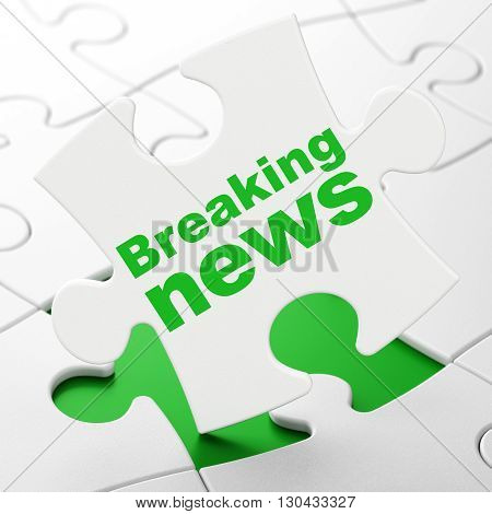 News concept: Breaking News on White puzzle pieces background, 3D rendering