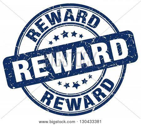 reward blue grunge round vintage rubber stamp