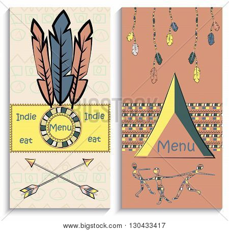 Set of ethnic Indian  flyers, menu, can be used to design the corporate identity thematic institutions. Vector illustration