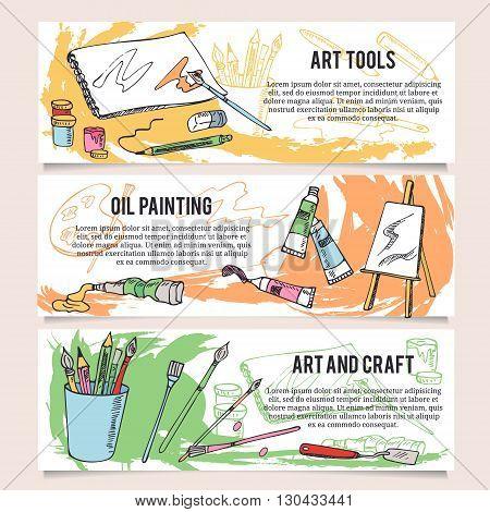 Set of art and craft tools Horizontal design templates banners.