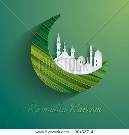 Paper graphic of crescent moon. The holy month of Muslim communities. Ramadan Kareem - Glorious month of Muslim year.