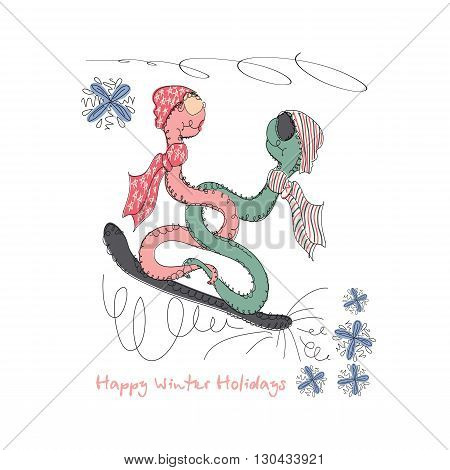 Vector Hand drawn romantic universal trendy card with characters hipster snake. Doodle love Design for Wedding, marriage, bridal, birthday, Valentine's day, winter party invitations, holidays