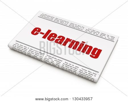Education concept: newspaper headline E-learning on White background, 3D rendering