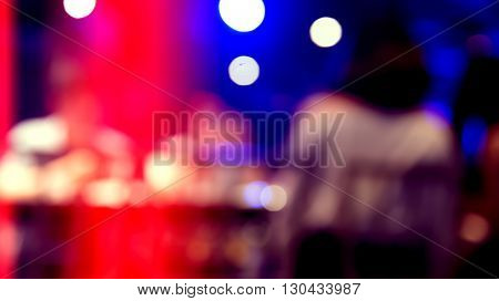 Blured of light in pub at night with bokeh abstract background with light leak