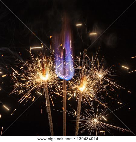 flames and sparks on a black background