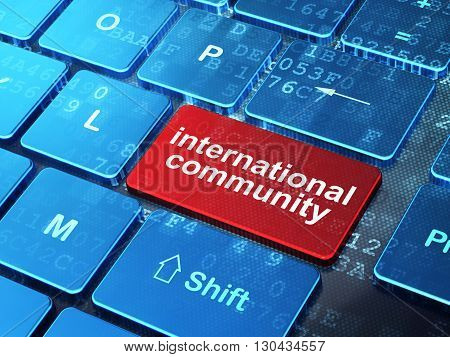 Political concept: computer keyboard with word International Community on enter button background, 3D rendering