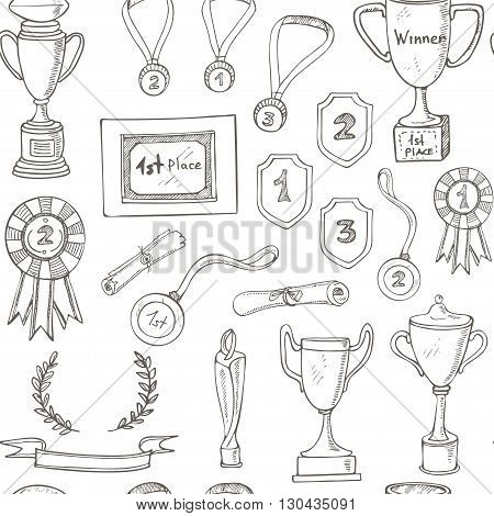 seamless pattern with decorative sketch Award with trophy, medal, winner prize, champion cup, ribbon. Isolated  Vector illustration.