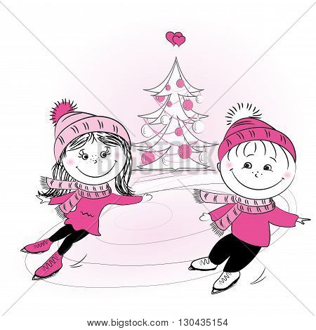 Happy family skating and xmas tree. Figure ice skating. Winter sports. Boy and girl skating. Happy new year. Merry Christmas.