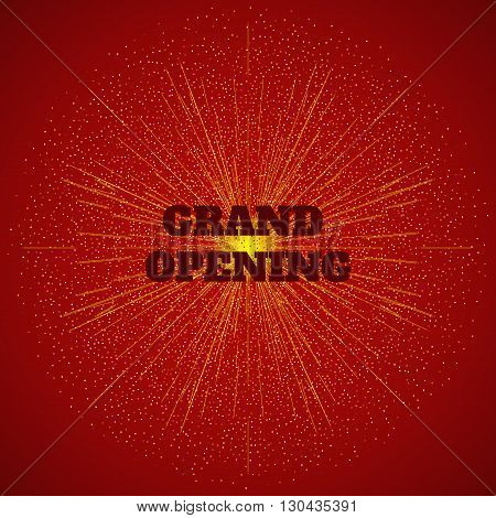 Grand opening banner with burst of gold confetti. Grand opening firework background. Festive concept. Vector illustration.
