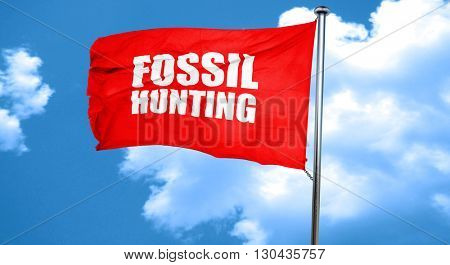 fossil hunting, 3D rendering, a red waving flag