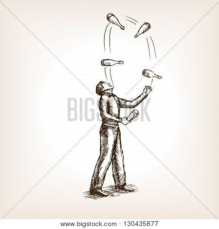 Juggler man sketch style vector illustration. Old hand drawn engraving imitation.
