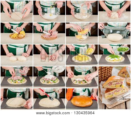 A Step By Step Collage Of Potato, Ham, Sour Cream And Cheese Pie