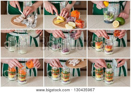 A Step By Step Collage Of Making Rainbow Picnic Salad In A Mason Jar