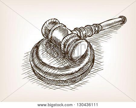 Judges wooden gavel sketch style vector illustration. Old engraving imitation.