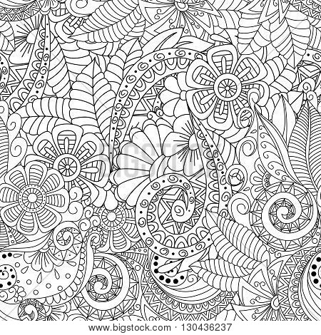 Black and white seamless floral background. Design for adults and older children coloring book. Cover textile wrapper.