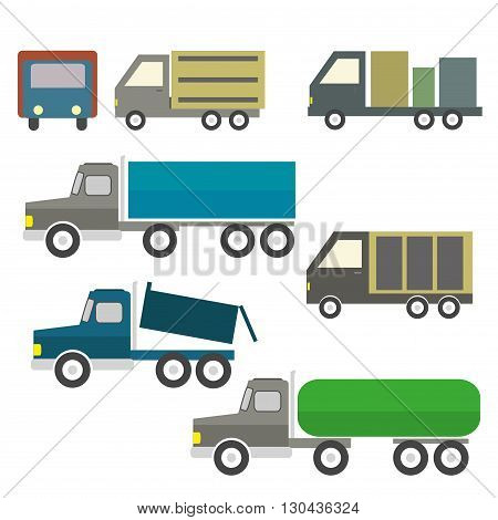 Trucks and trailers on a white background. Delivery and shipping cargo trucks and semi-trucks