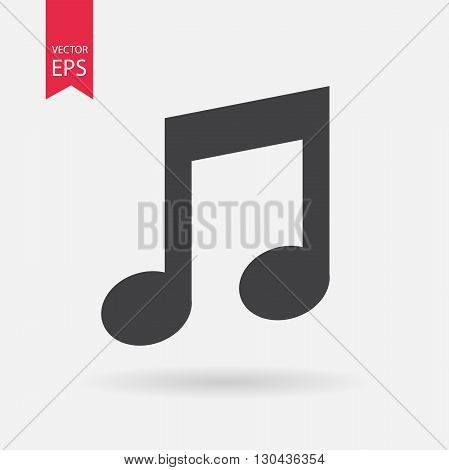 Music note Icon Vector. Flat design. Music note sign isolated on white background.