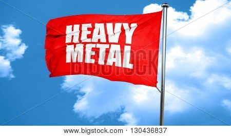 heavy metal music, 3D rendering, a red waving flag